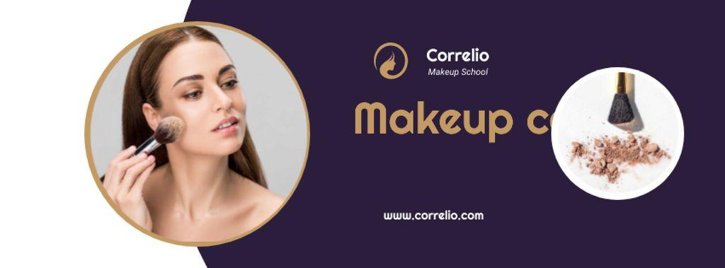 Makeup Courses Annoucement with Woman applying makeup — Modelo de projeto