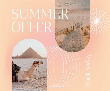 Summer Travel Offer with Camel on Beach Medium Rectangle Design Template