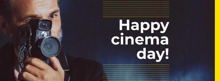 Cinema Day Announcement with Movie Maker Facebook cover Modelo de Design