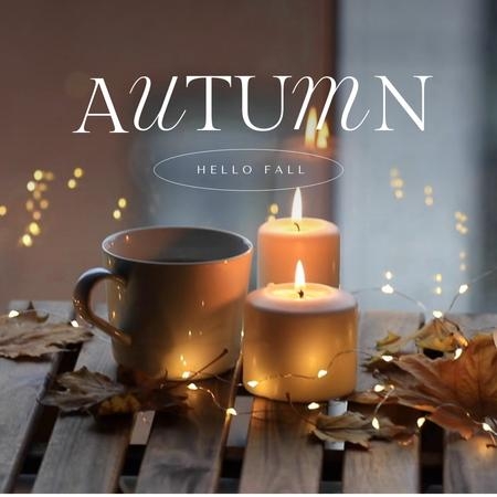 Autumn Greeting with Cozy Candlelight Animated Post Design Template