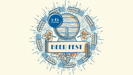 Brewery Ad Wooden Beer Barrel FB event cover Modelo de Design