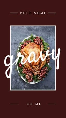 Ontwerpsjabloon van Instagram Story van Thanksgiving Dinner Tradition Roasted Turkey