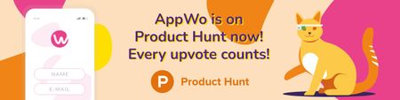 Product Hunt Campaign Ad Login Page on Screen Web Bannerデザインテンプレート