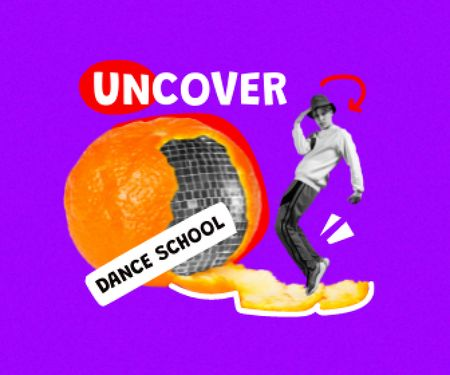 Funny Guy with Disco Ball in Orange Peel Large Rectangle – шаблон для дизайну