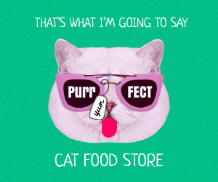 Modèle de visuel Funny Cute Cat in Sunglasses showing Tongue - Medium Rectangle