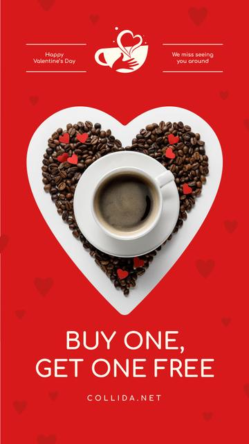 Template di design Valentine's Day Coffee Cup in Heart Instagram Story