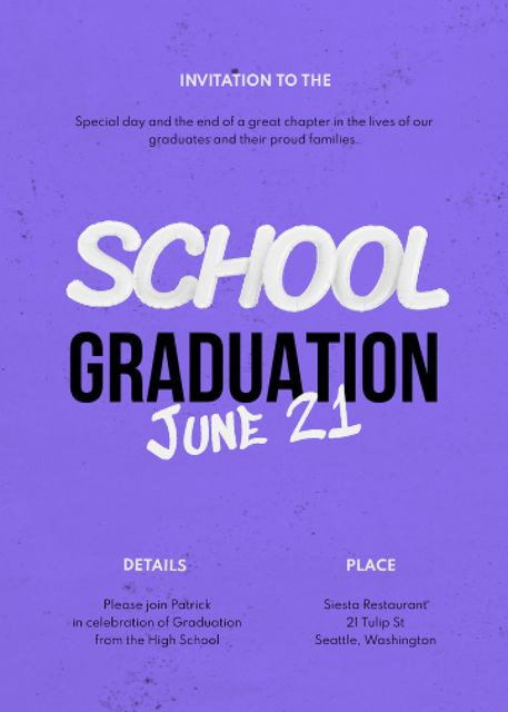 School Graduation Party Announcement Invitation – шаблон для дизайна