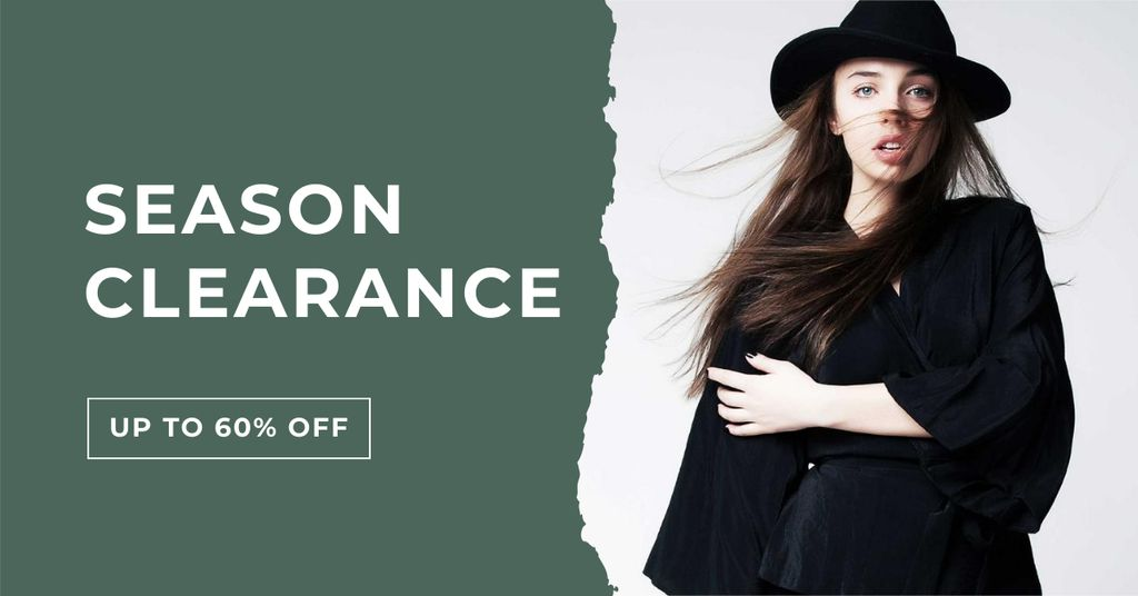 Fashion Sale Ad with Stylish Girl in Black Outfit Facebook AD Design Template