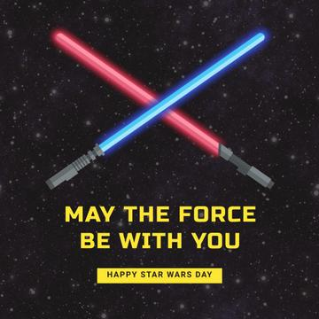 Star Wars Day with Lightsabers on Space