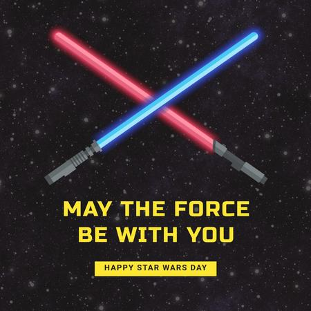 Plantilla de diseño de Star Wars Day with Lightsabers on Space Instagram