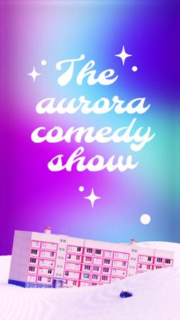 Designvorlage Comedy Show Announcement with House in Snow für Instagram Video Story