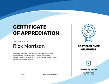 Best Employee Appreciation in Blue Certificate Design Template