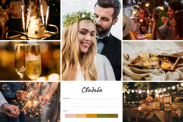 Romantic Newlyweds on Wedding day Mood Board – шаблон для дизайна