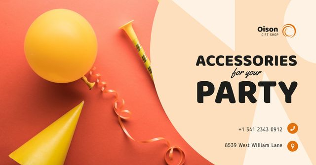 Party Accessories Store Ad in Red Facebook AD Design Template