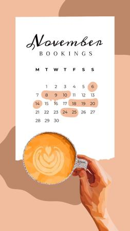 Szablon projektu Month Planning with Woman holding Cup of Coffee Instagram Video Story
