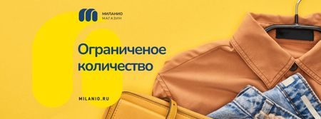 Clothes Sale Female Outfit in Orange Color Facebook cover – шаблон для дизайна