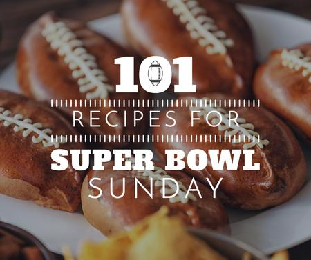 Super Bowl Recipes with Pies Facebook Modelo de Design