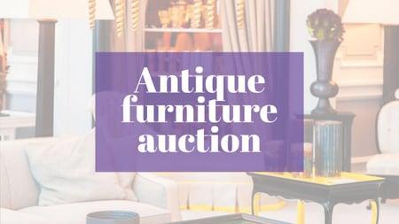Ontwerpsjabloon van Youtube van Antique Furniture Auction Vintage Wooden Pieces