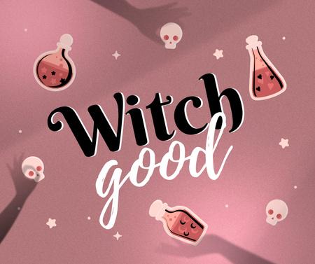 Designvorlage Halloween Inspiration with Witch Potion Bottles für Facebook