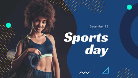 Modèle de visuel Sports Day Announcement with Athlete Woman - FB event cover