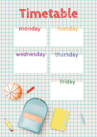 Template di design Weekly Timetable with School Backpack Schedule Planner
