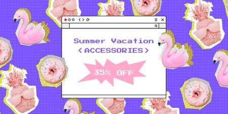 Summer Vacation Accessories Sale Offer Twitter Design Template