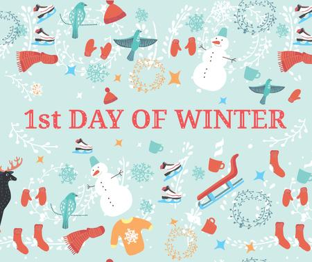 Plantilla de diseño de First Day of Winter Greeting with seasonal attributes Facebook