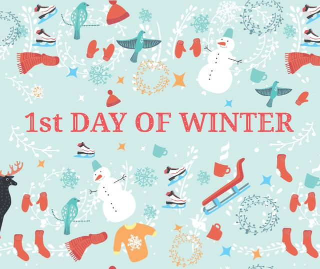 First Day of Winter Greeting with seasonal attributes Facebook Design Template