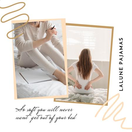 Pajamas Shop Offer with Woman in bed Instagram Design Template