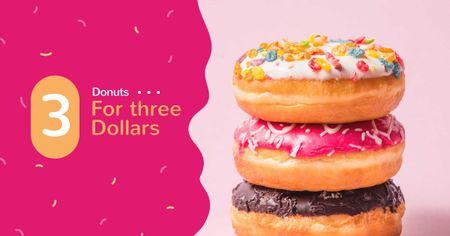 Delicious glazed Donuts sale Facebook AD Design Template