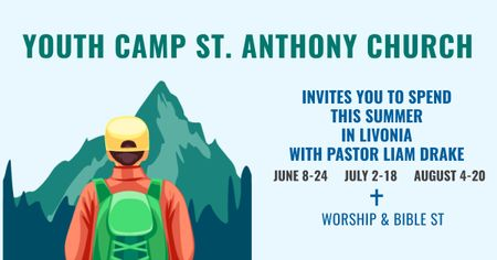 Youth religion camp of St. Anthony Church Facebook AD Design Template