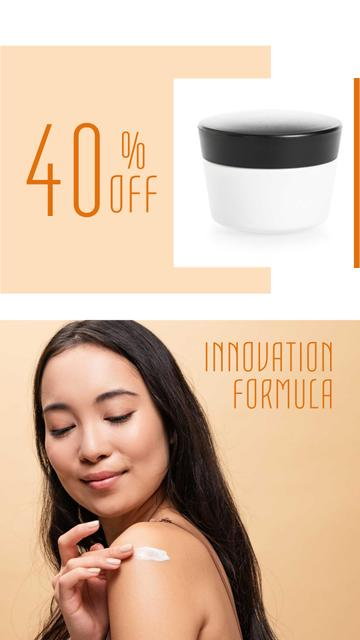Cosmetics Sale Offer with Woman applying Cream Instagram Story – шаблон для дизайну