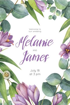Modèle de visuel Wedding Invitation in Frame with saffron flowers - Pinterest