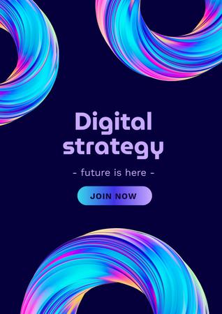 Template di design Digital Strategy Ad with Human and Robot Hands Poster