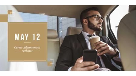 Ontwerpsjabloon van FB event cover van Businessman in Car with Coffee and smartphone