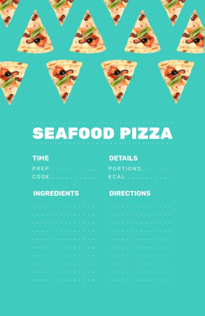 Seafood Pizza Cooking Steps Recipe Card – шаблон для дизайна