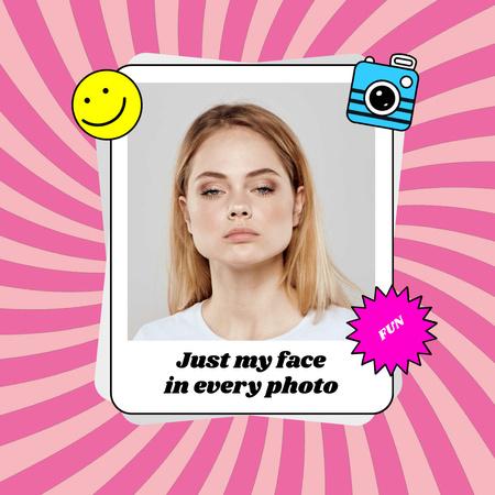 Plantilla de diseño de Funny Woman posing with Serious Face Animated Post