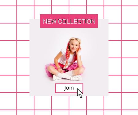 New Kids Collection Announcement with Stylish Little Girl Facebook Modelo de Design