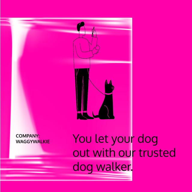 Dog Walking services with Man walking Pet Animated Post Design Template