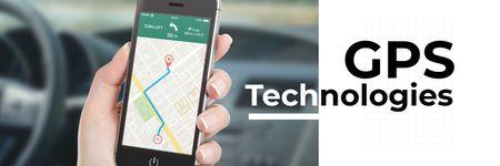 GPS technologies poster Twitter Modelo de Design