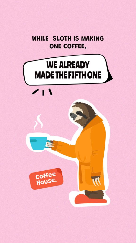 Funny Illustration of Sloth holding Coffee Instagram Story – шаблон для дизайна