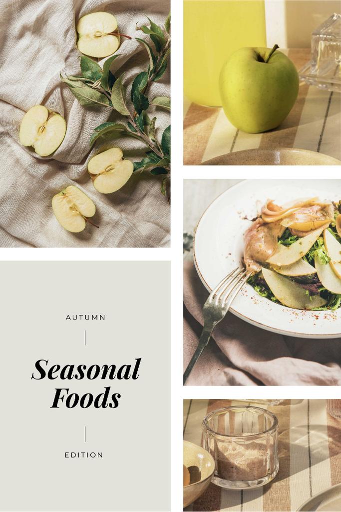 Seasonal Dish with Apples Pinterest Design Template