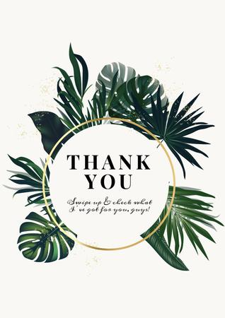 Modèle de visuel Thank You card with Tropical Leaves - Poster