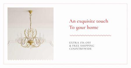 Plantilla de diseño de Elegant Crystal Chandelier in White Facebook AD