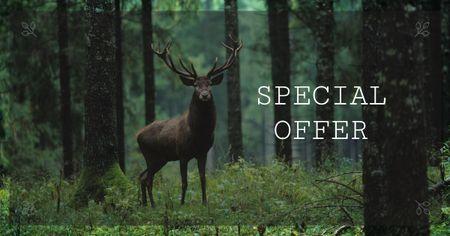 Template di design Deer in Green Forest Facebook AD