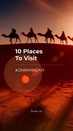 Ontwerpsjabloon van Instagram Story van Ramadan Special Offer with Camels in Desert