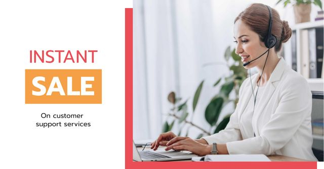 Modèle de visuel Customer Support Offer with Female Consultant - Facebook AD
