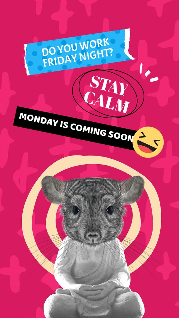 Plantilla de diseño de Funny Illustration of Buddhist with Mouse Head Instagram Story