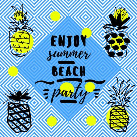 Plantilla de diseño de Summer beach party invitation with Pineapples Instagram AD