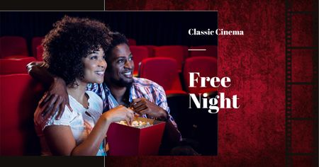Movie Night Announcement with Cute Couple in Cinema Facebook AD Design Template